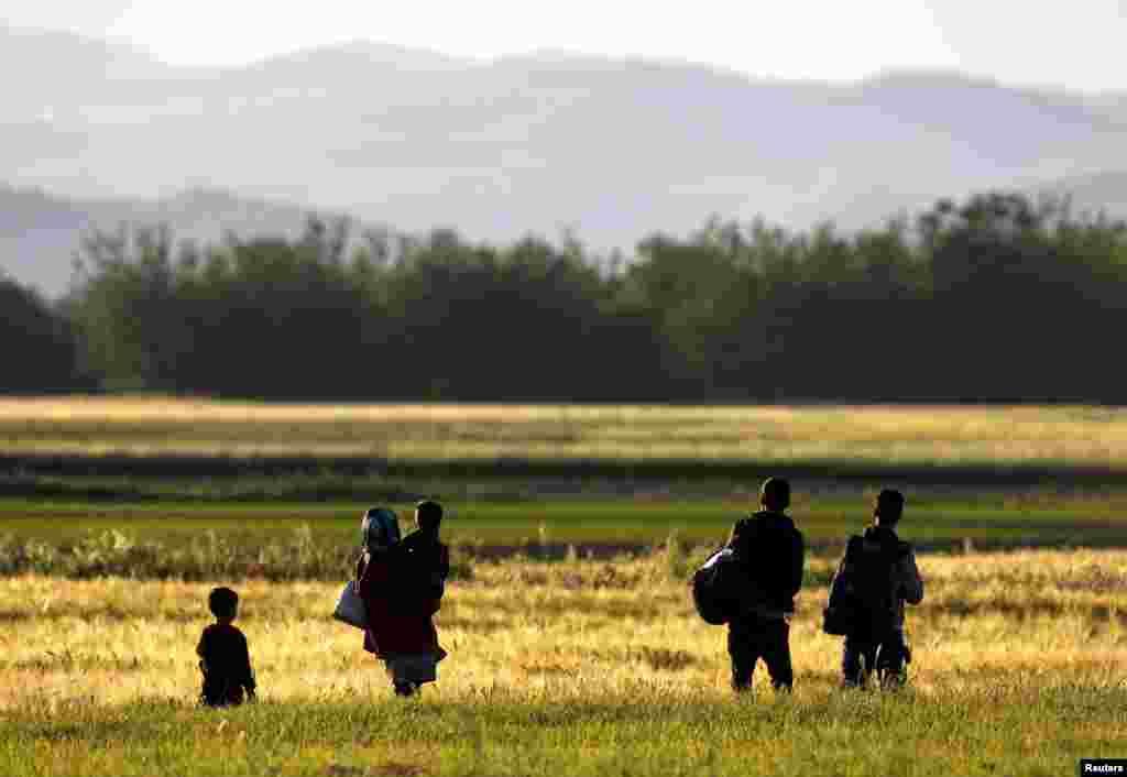 Афганская семья пробирается к греко-македонской границе в попытке попасть на территорию Македонии