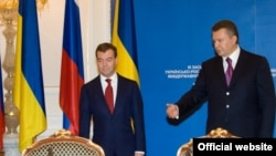 Ukrainian President Viktor Yanukovych (right) meets with his Russian counterpart Dmitry Medvedev in Kyiv on May 17.