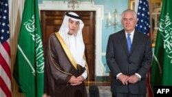 دیدار عادل الجبیر و رکس تیلرسون وزیران خارجه عربستان و آمریکا در واشینگتن.