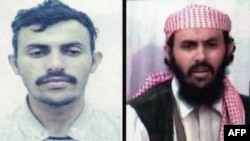 A combo photo shows two undated pictures of a military chief of the Al-Qaeda network in Yemen, identified as Qassim al-Raymi