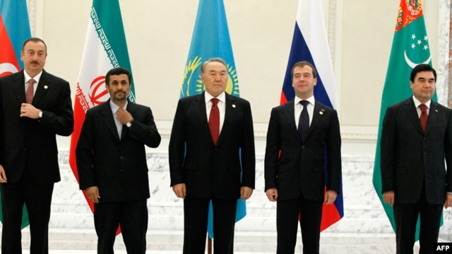 Participants in the Caspian regional summit in Baku on November 18 included the Azerbaijani, Iranian, Kazakh, Russian, and Turkmen presidents (left to right).
