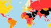 در شاخص آزادی رسانهها در جهان، کشورها در پنج وضعیت خوب (سفید)، رضایتبخش (زرد)، نیمهدشوار (نارنجی)، دشوار (قرمز) و بسیار وخیم (سیاه) ردهبندی شدهاند