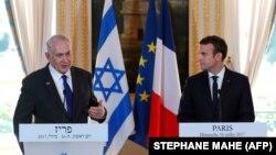 امانویل مکرون رئیس جمهور فرانسه (راست) با بینیامین نتنیاهو صدراعظم اسرائیل