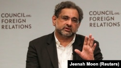 Pakistani Prime Minister Shahid Khaqan Abbasi at a panel discussion with the Council on Foreign Relations in New York on September 20.