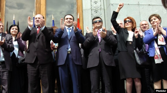 Armenia -- Orinats Yerkir party leaders at an election rally in Yerevan, 07APR2012