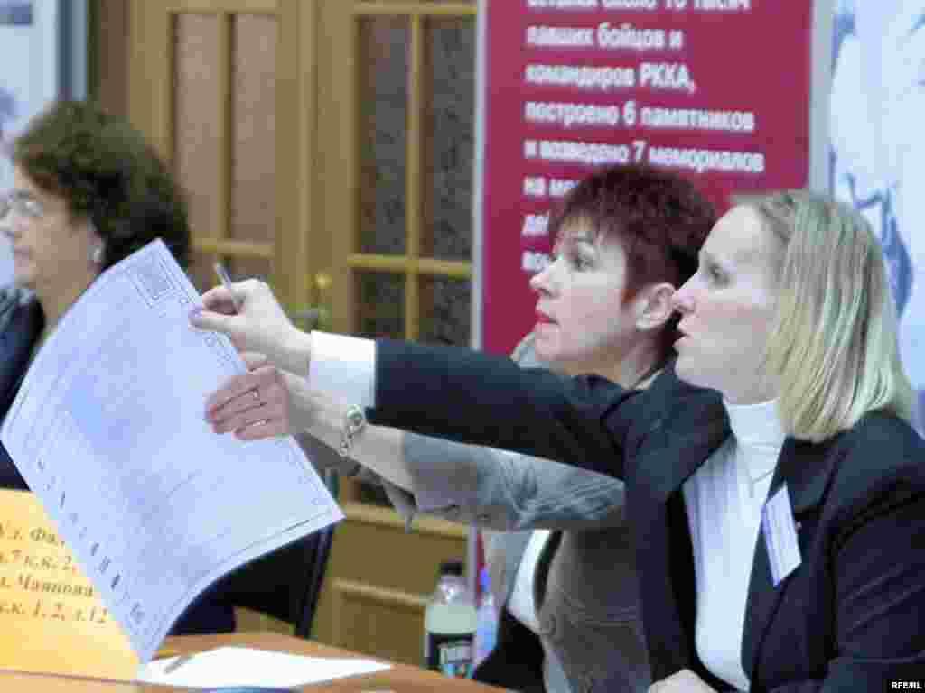Члены избирательной комиссии выдают бюллетени для голосования. Москва, 2 декабря 2007 года