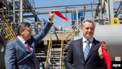 Firtash (right) and then Ukrainian President Viktor Yanukovych take part in a ceremony to open a new complex for the production of sulfuric acid in Crimea in April 2012.