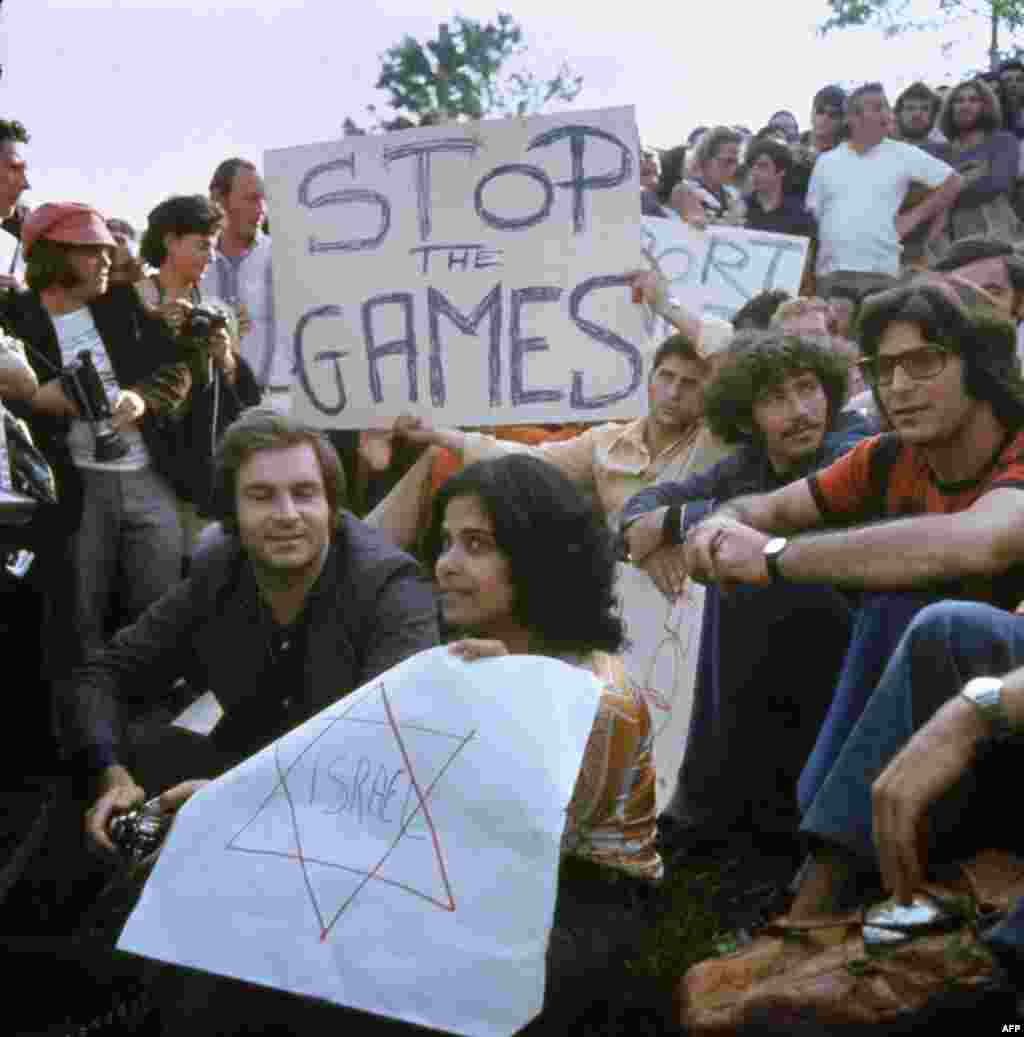Israelis demonstrate on September 6, 1972 for the Munich Olympics to be halted after the Israeli team members were taken hostage.