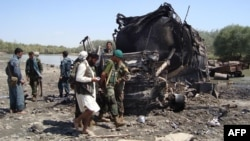 The site of the 2009 air strike in Kunduz Province (file photo)