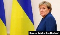 Канцлер Німеччини Анґела Меркель під час візиту до Києва у листопаді 2018 року