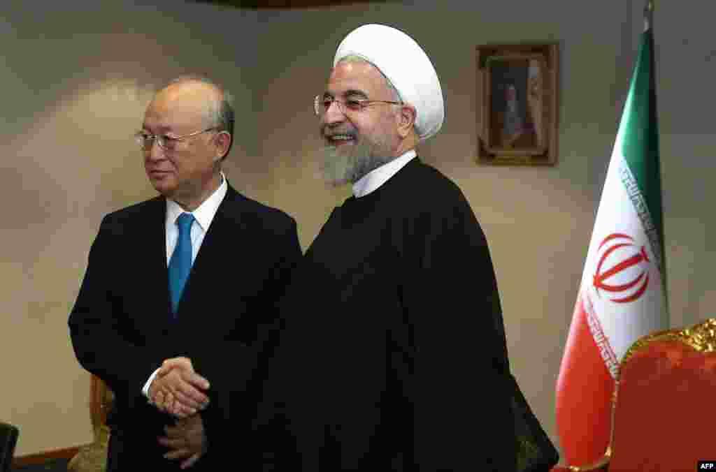 دیدار حسن روحانی، رئیس جمهور ایران، با یوکیا آمانو،مدیر کل آژانس بین المللی انرژی اتمی
