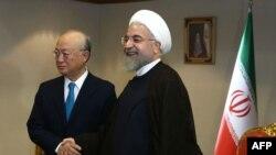 Presidenti i Iranit Hassan Rohani dhe Yukiya Amano