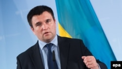Germany -- Ukrainian Foreign Minister Pavlo Klimkin speaks during a press conference after talks with German Foreign Minister at the German Foreign Ministry in Berlin, June 1, 2016