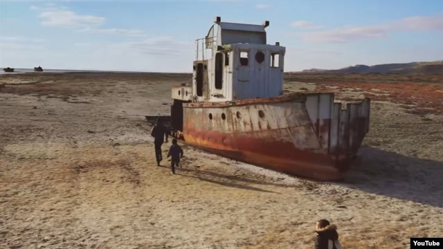 "A grab from Pink Floyd's music video for the song ""Louder Than Words,"" filmed near Aralsk and the Aral Sea in Kazakhstan."