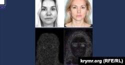 Фотографии «вербовщицы» в программе «антифотошопа». Белым выделены фрагменты, где присутствуют следы «фотошопа»