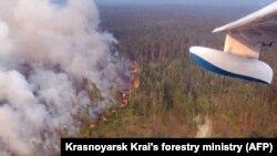 Лесной пожар в Красноярском крае России. 30 июля 2019 года.
