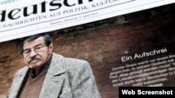 Naslovnica Suddeutsche Zeitunga o smrti pisca