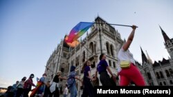 "Акция протеста против нового закона об ""ЛГБТ-пропаганде"". Будапешт, 14 июня 2021 года"