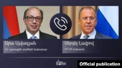 Министр иностранных дел Армении Ара Айвазян (слева) и министр иностранных дел России Сергей Лавров