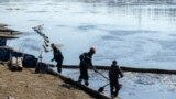 Russia -- an oily liquid spill in the Komi Republic, NAO, the Kolva River. May 2021