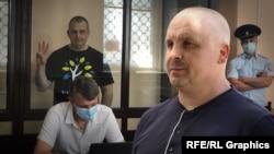 Коллаж: российский адвокат Дмитрий Динзе (на переднем плане) и его подзащитный, журналист Владислав Есипенко в зале суда