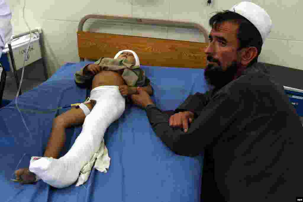 A boy receives medical treatment at a hospital in Jalalabad, Afghanistan.