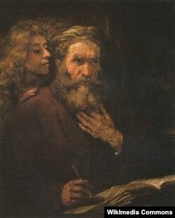 """Репродукция картины Рембрандта """"Апостол Матвей и Ангел"""", 1661 год"""