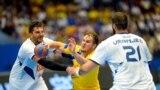 Sweden -- File photo -- Sweden's Jesper Konradsson battles with Bosnia's Nikola Prce during men's World Championship handball qualification match between Sweden and Bosnia and Herzegovina, in Vaxjo, Sweden June 12, 2016.
