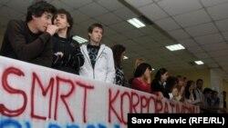 Protest na Fakultetu političkih nauka zbog stanja u visokom obrazovanju, Podgorica, novembar 2011.