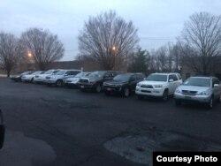 Автомобили в США, готовящиеся к отправке за рубеж.
