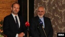 ظریف و لیدگارد، وزیران خارجه ایران و دانمارک