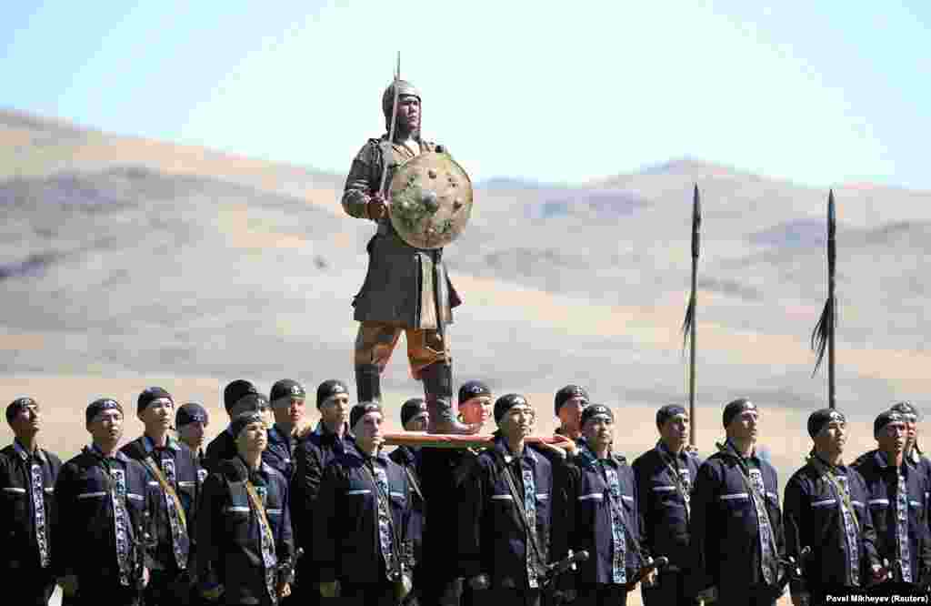 Kazakh servicemen perform during a ceremony opening the International Army Games in the Zhambyl Province. (Reuters/Pavel Mikheyev)