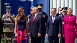 Доналд Трамп дар майдони таърихии Варшава суханронӣ кард