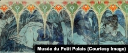A detail from one of Mucha's friezes, now on display in the Petit Palais in Paris. The painting is visible at the top of the frame of the previous photo.