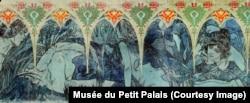 Detaliu al uneia dintre frizele lui Mucha, acum expuse în Petit Palais din Paris. Pictura este situată în partea de sus a cadrului fotografiei anterioare.