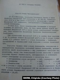 Fragment din scrisoarea conducerii RSSM către I. Stalin (Arhiva Personală - OȚ)