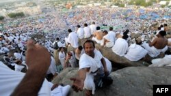 Muslim pilgrims gather on Mount Arafat, near the holy city of Mecca, Saudi Arabia, in October 2012.