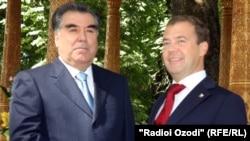 Tajik President Emomali Rahmon and Russian President Dmitry Medvedev in Dushanbe for the summit