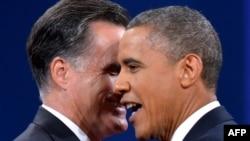 مرشحا إنتخابات الرئاسة الأميركية، أوباما ورومني وجهاً لوجه في المناظرة الإنتخابية الثالثة.