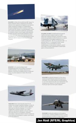 Сирияда құлаған ресейлік авиация туралы инфографика. (Орыс тілінде.)