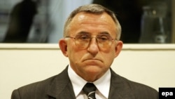 Serbian General Vladimir Lazarevic, ultimately convicted of command responsibility for war crimes committed against the civilian population during the 1998-99 Kosovo war, is seen during his initial appearance at The Hague tribunal on February 7, 2005.