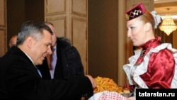 Russia's Republic of Tatarstan President Rustam Minnikhanov during his Azerbaijani visit on March 2