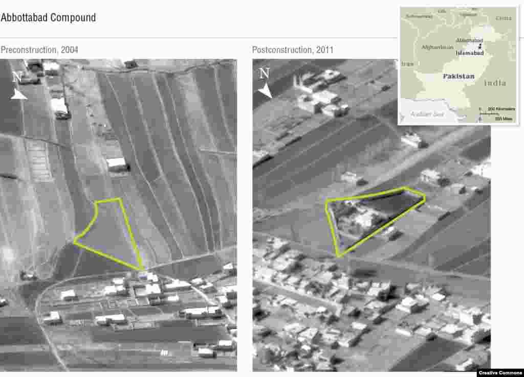 Фотографии беспилотников ЦРУ, на которых виден новый комплекс в Абботтабаде. Бин Ладен направился в северный пакистанский город Абботтабад, где примерно в 2005 году был построен большой комплекс, окруженный высокими стенами. Местные жители заметили, что жители комплекса сжигали свой мусор, а не выставляли его для вывоза