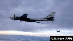 In one of the March 29 incidents, Norwegian F-16 jets intercepted Russian Tu-95 Bear bombers, which continued to fly south over the North Sea. (file photo)