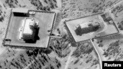 """صورة مركبة لمركز قيادة وسيطرة لتنظيم """"داعش"""" في سوريا قبل وبعد قصفه."""
