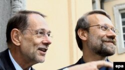 علی لاریجانی و خاویر سولانا در جریان دیدار ماه سپتامبر سال گذشته میلادی