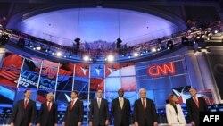 АКШ. Республикачылардын президентке талапкерлери улуттук коопсуздук боюнча дебат алдында. Вашингтон. 22-ноябрь, 2011