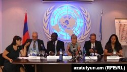 Armenia -- Members of the Working Group on Arbitrary Detention of the UN Human Rights Council hold a news conference in Yerevan, 15September 2010.