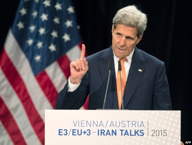 """U.S. Secretary of State John Kerry speaks during a final press conference in Vienna: """"We were determined to get this right."""""""