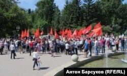 Акция протеста против пенсионной реформы в центре Новосибирска